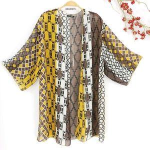 NEW Sheer Geometric Print Kimono Cover Up